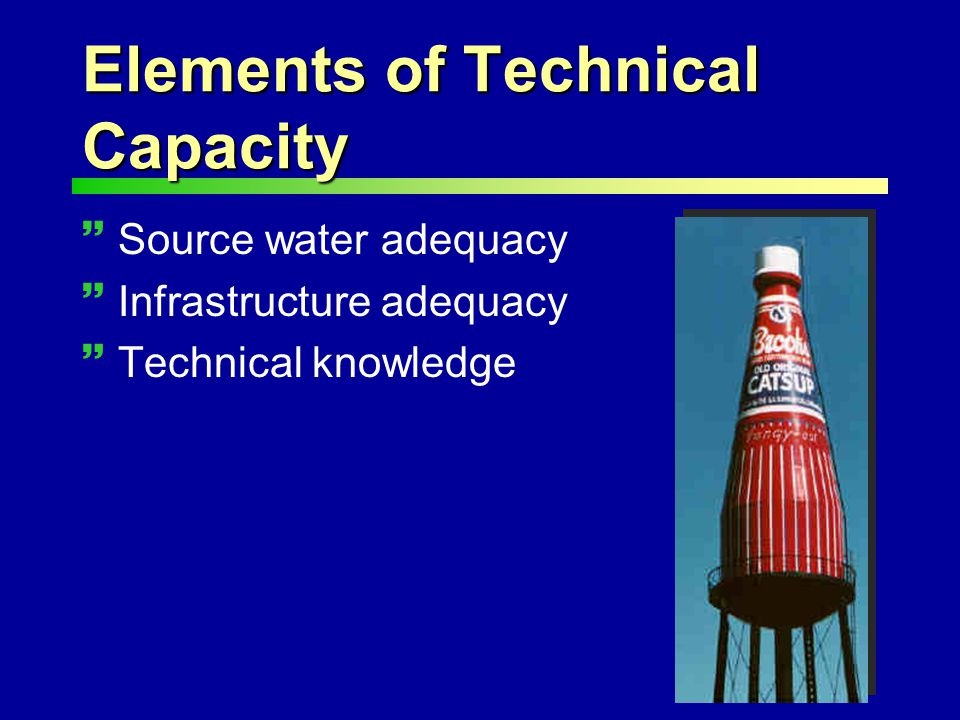 Elements of Technical Capacity ~Source water adequacy ~Infrastructure adequacy ~Technical knowledge