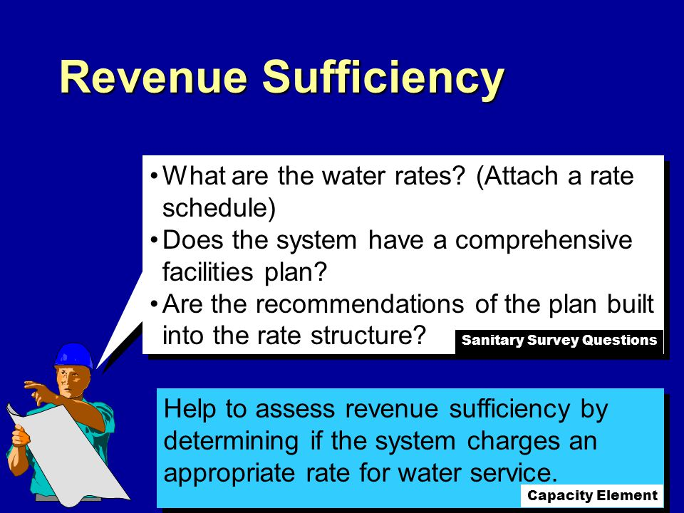 Help to assess revenue sufficiency by determining if the system charges an appropriate rate for water service.