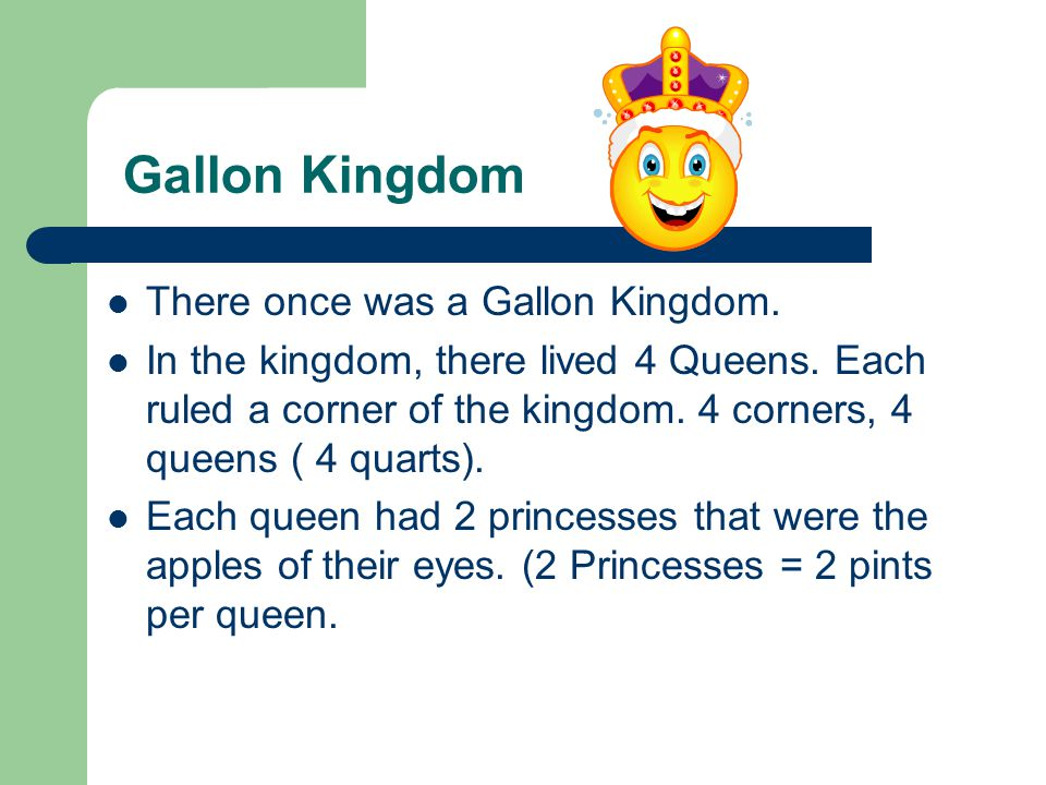Gallon Kingdom There once was a Gallon Kingdom. In the kingdom, there lived 4 Queens. Each ruled a corner of the kingdom. 4 corners, 4 queens ( 4 quar