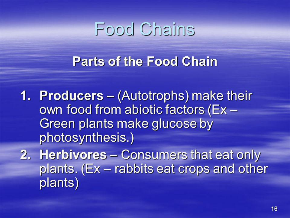 16 Food Chains Parts of the Food Chain 1.Producers – (Autotrophs) make their own food from abiotic factors (Ex – Green plants make glucose by photosyn