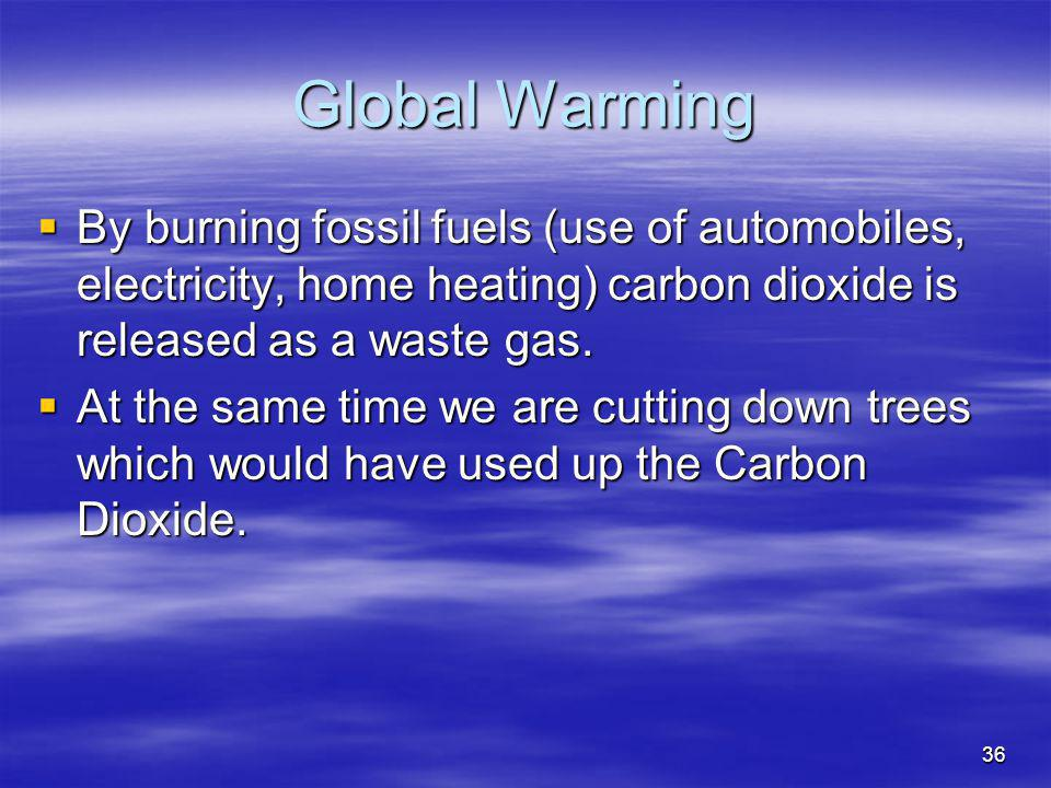 36 Global Warming By burning fossil fuels (use of automobiles, electricity, home heating) carbon dioxide is released as a waste gas. By burning fossil