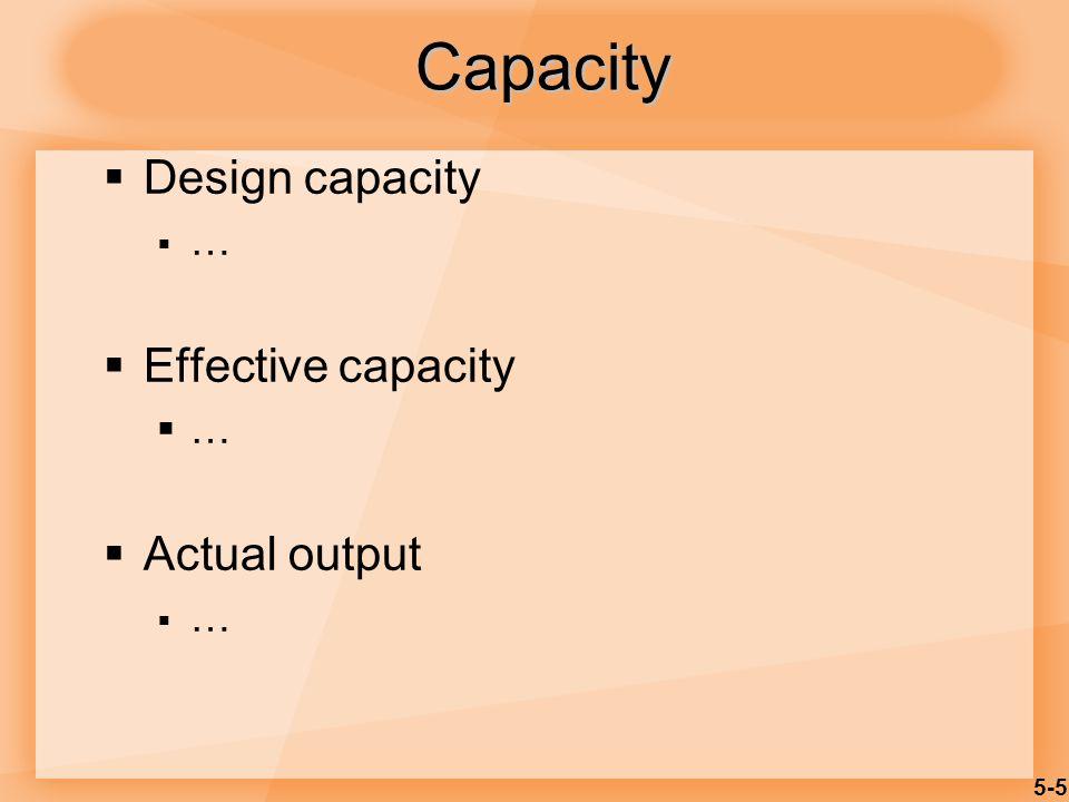 5-5 Capacity Design capacity … Effective capacity … Actual output …