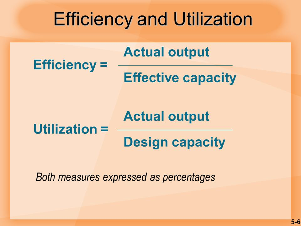 5-7 Actual output = units/day Efficiency = = Effective capacity units/ day Utilization = Actual output = units/day = Design capacity units/day Efficiency/Utilization Example Design capacity = 50 trucks/day Effective capacity = 40 trucks/day Actual output = 36 trucks/day