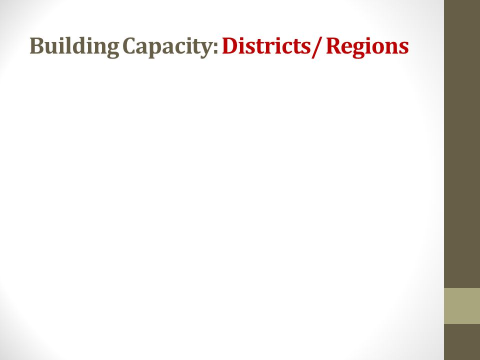 Building Capacity: Districts/ Regions