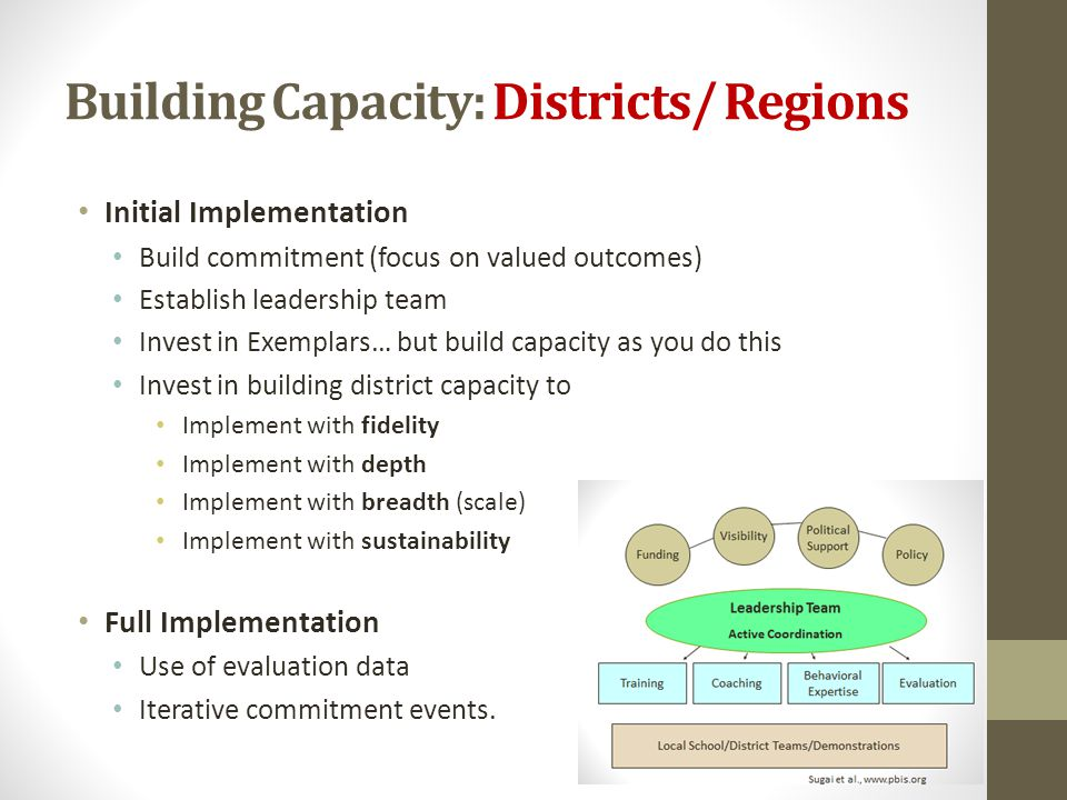 Building Capacity: Districts/ Regions Initial Implementation Build commitment (focus on valued outcomes) Establish leadership team Invest in Exemplars