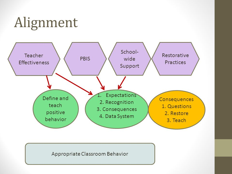Alignment Teacher Effectiveness PBIS School- wide Support Restorative Practices Define and teach positive behavior Appropriate Classroom Behavior 1.Ex