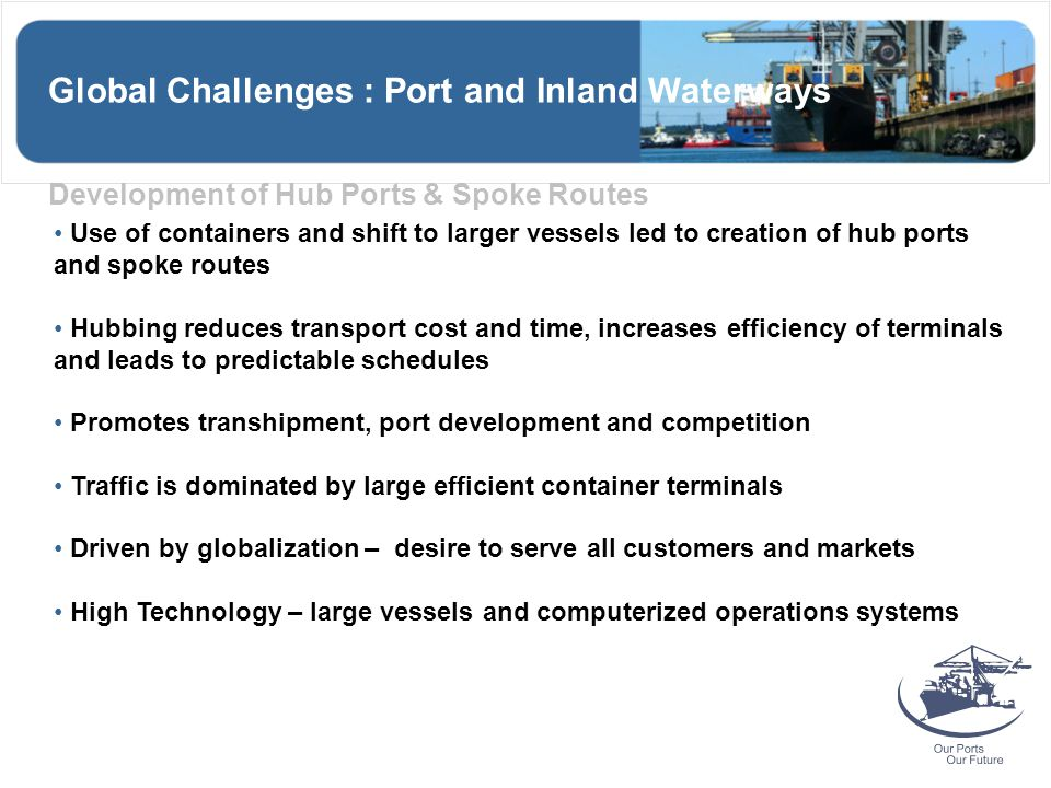 Global Challenges : Port and Inland Waterways Development of Hub Ports & Spoke Routes Use of containers and shift to larger vessels led to creation of