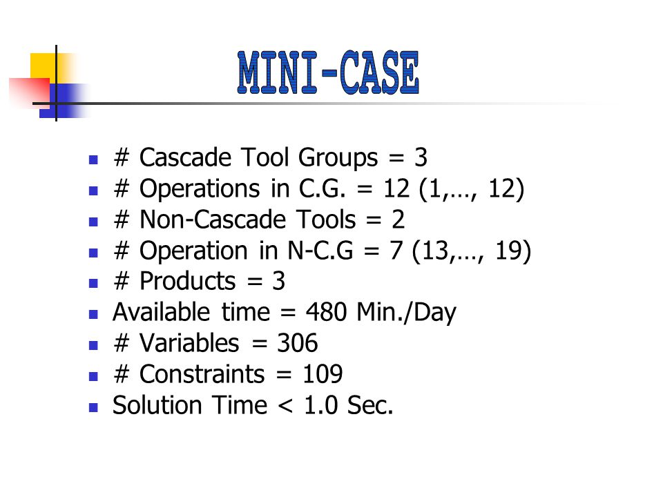# Cascade Tool Groups = 3 # Operations in C.G.