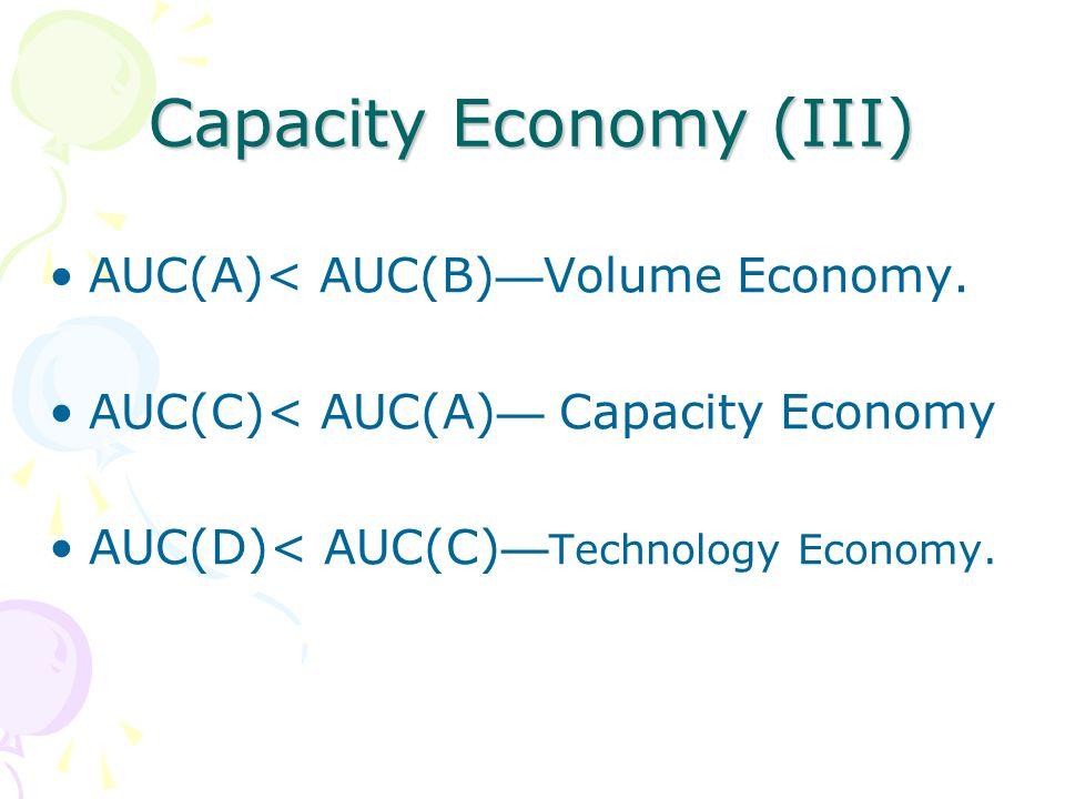 Capacity Economy (III) AUC(A)< AUC(B) Volume Economy. AUC(C)< AUC(A) Capacity Economy AUC(D)< AUC(C) Technology Economy.