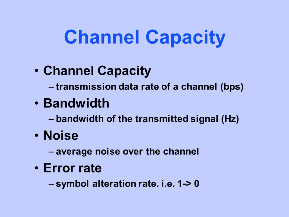 Channel Capacity –transmission data rate of a channel (bps) Bandwidth –bandwidth of the transmitted signal (Hz) Noise –average noise over the channel Error rate –symbol alteration rate.