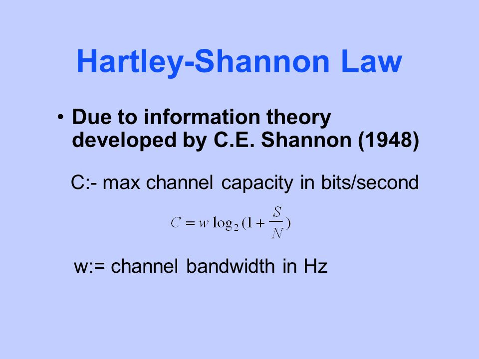 Hartley-Shannon Law Due to information theory developed by C.E.