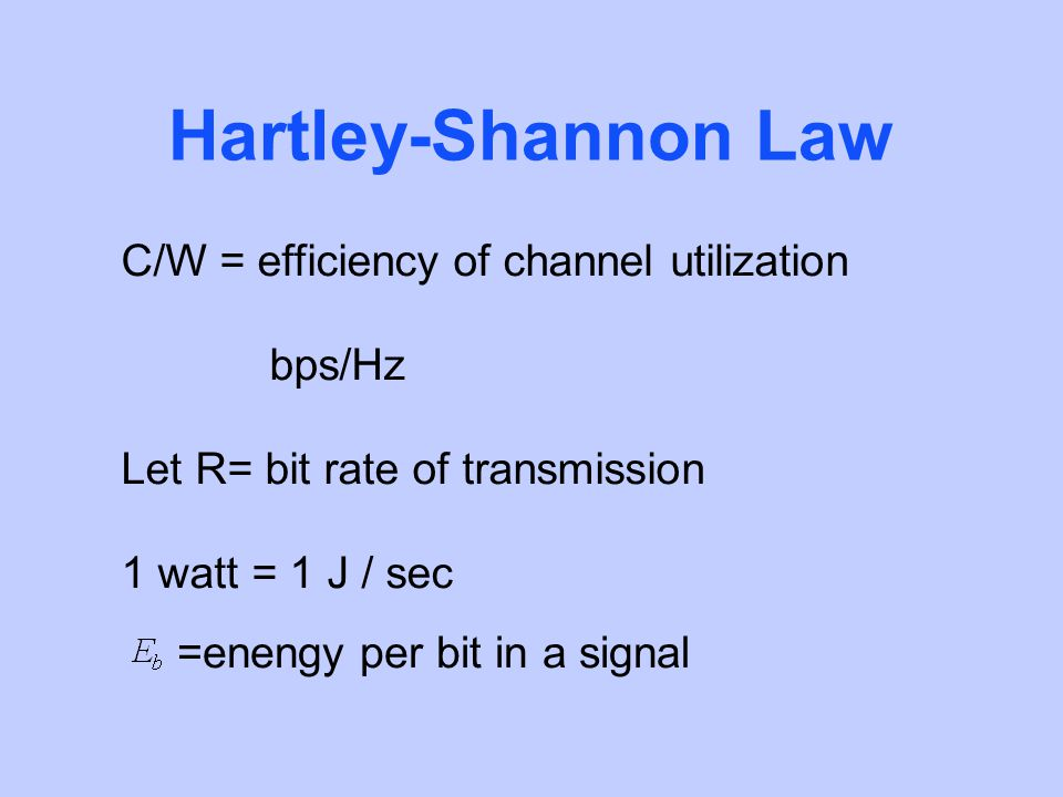Hartley-Shannon Law C/W = efficiency of channel utilization bps/Hz Let R= bit rate of transmission 1 watt = 1 J / sec =enengy per bit in a signal