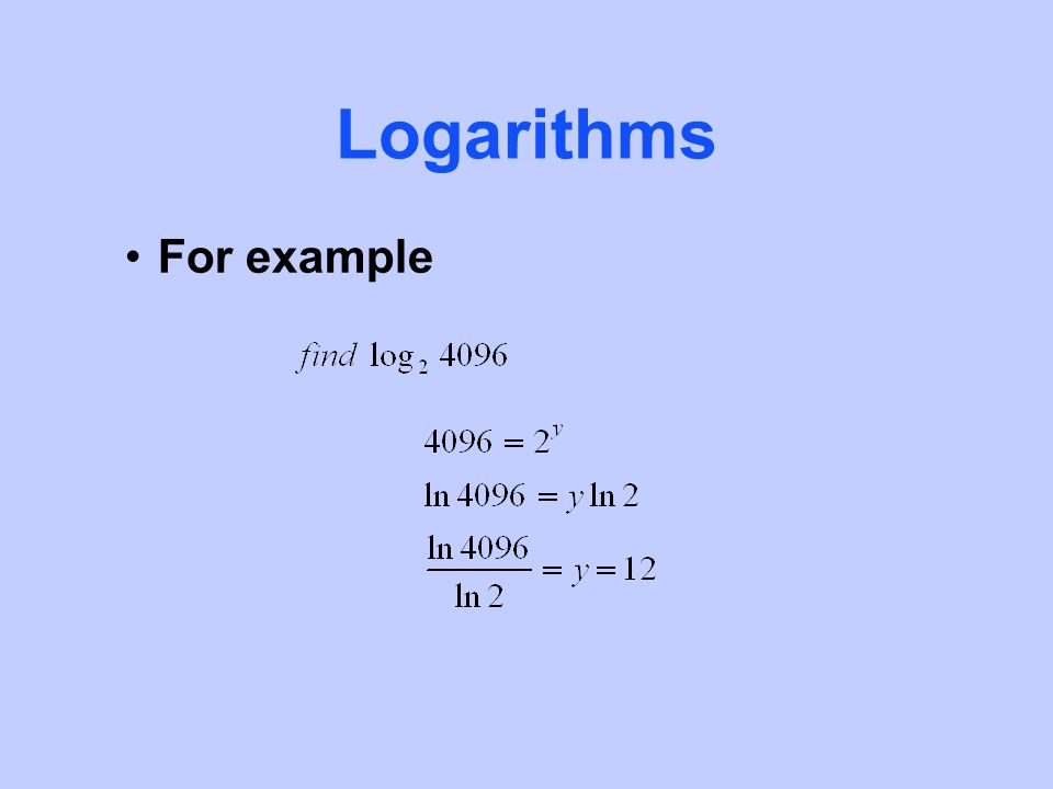 Logarithms For example
