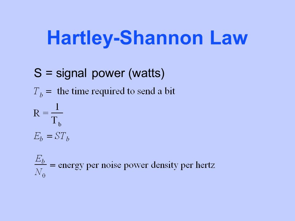 Hartley-Shannon Law S = signal power (watts)