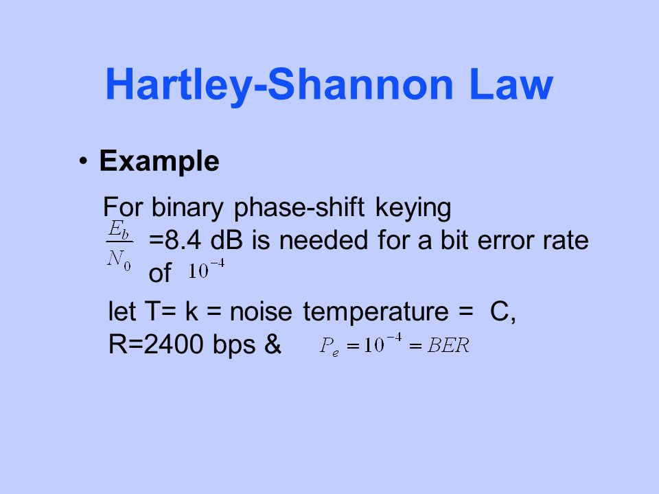 Hartley-Shannon Law Example For binary phase-shift keying =8.4 dB is needed for a bit error rate of let T= k = noise temperature = C, R=2400 bps &
