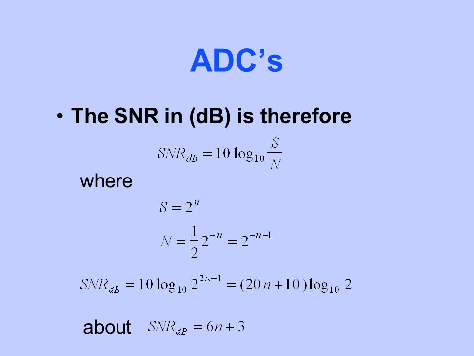 ADCs The SNR in (dB) is therefore where about