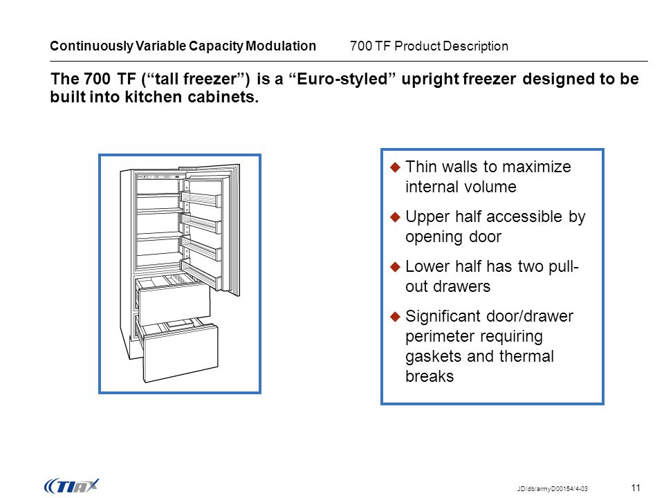 11 JD/db/armyD00154/4-03 The 700 TF (tall freezer) is a Euro-styled upright freezer designed to be built into kitchen cabinets. Continuously Variable