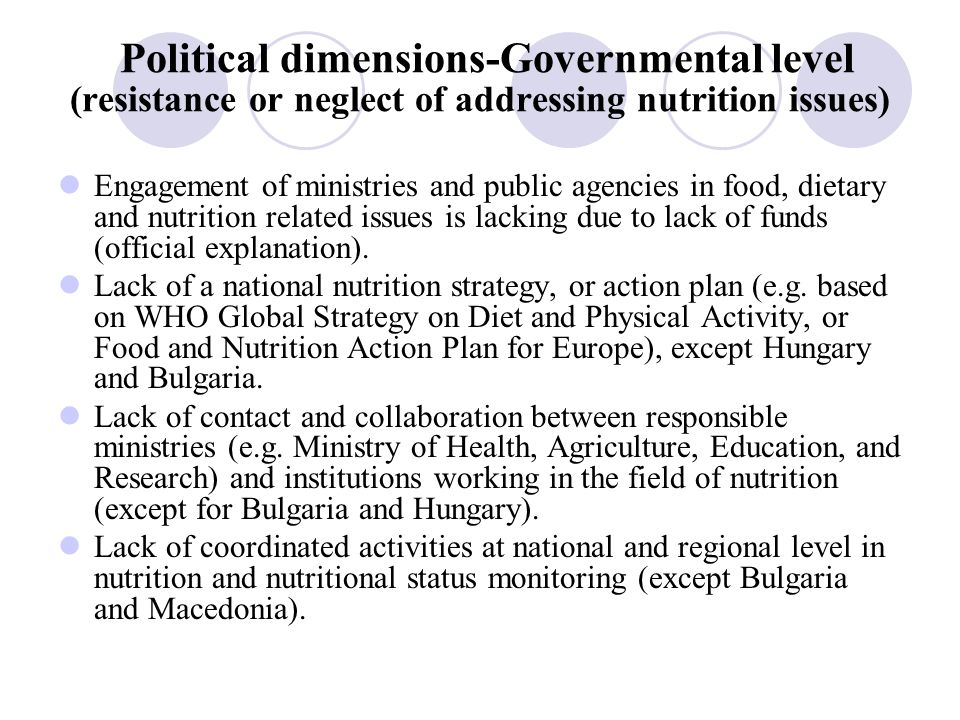 Political dimensions-Governmental level (resistance or neglect of addressing nutrition issues) Engagement of ministries and public agencies in food, dietary and nutrition related issues is lacking due to lack of funds (official explanation).