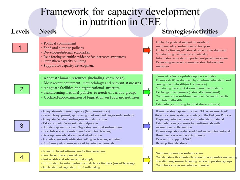 Framework for capacity development in nutrition in CEE LevelsNeedsStrategies/activities Political commitment Food and nutrition policies Develop nutritional action plan Reinforcing scientific evidence for increased awareness Strengthen capacity building Support for capacity development Adequate human resources (including knowledge) Most recent equipment, methodology and relevant standards Adequate facilities and organizational structure Transforming national policies to needs of various groups Updated/approximation of legislation on food and nutrition Adequate institutional capacity (human resources) Research equipment, apply recognized methodologies and standards Adequate facilities and organizational structures Take account of relevant national policies Updated/approximation of legislation on food and nutrition Establish academic institution for nutrition training Develop curricula at each level of education Accreditation and certification of higher training activities Conformity of catering serviced to nutrition demands Scientific based information for food selection Food based dietary guidelines Sustainable and adequate food supply Information for informed individual choice for diets (use of labeling) Application of legislation for food labeling Lobby for political support for needs of nutrition policy and national action plan Lobby for funding of national capacity development Monitor for government accountability Information/education of politicians/parliamentarians Requesting increased communication between line ministries Terms of reference/job description - updates Promote staff development by academic education and training in nutr./health (incl.