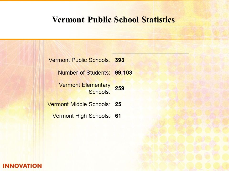 Vermont Public Schools:393 Number of Students:99,103 Vermont Elementary Schools: 259 Vermont Middle Schools:25 Vermont High Schools:61 Vermont Public School Statistics