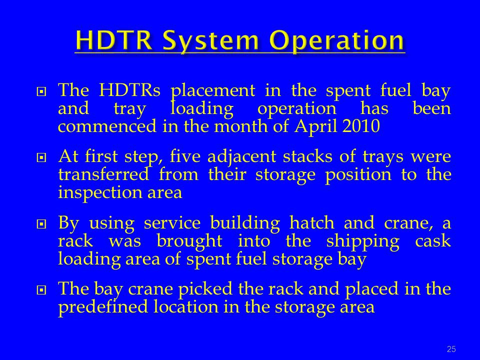 The HDTRs placement in the spent fuel bay and tray loading operation has been commenced in the month of April 2010 At first step, five adjacent stacks