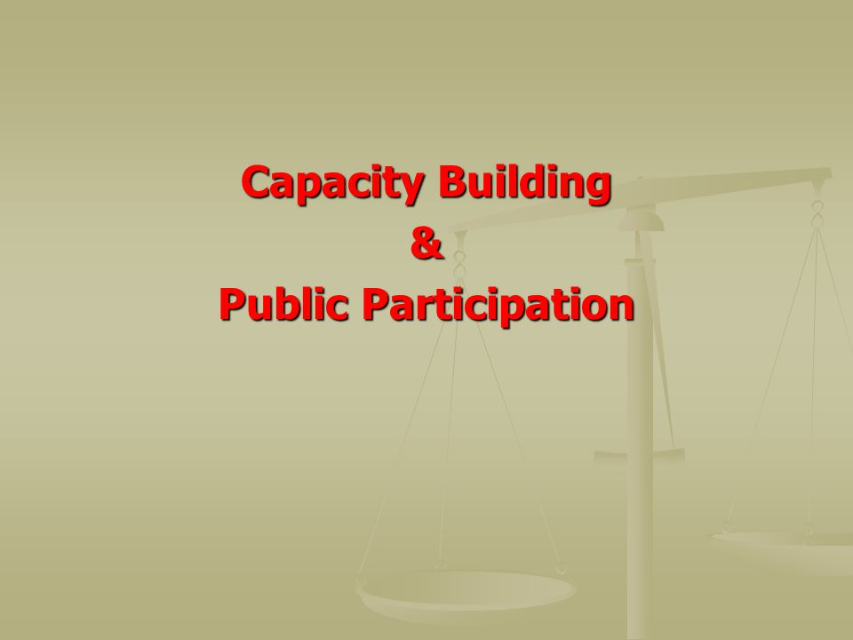 Capacity Building & Public Participation