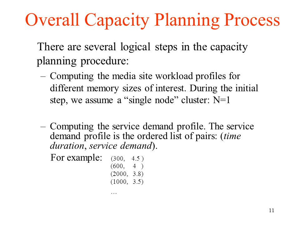 11 Overall Capacity Planning Process There are several logical steps in the capacity planning procedure: –Computing the media site workload profiles for different memory sizes of interest.