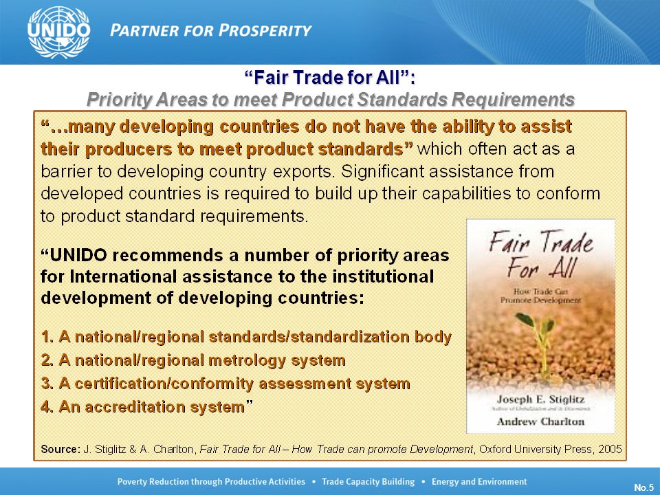 UNIDO/TCB/LG/140910/ISO Oslo No.5 Fair Trade for All: Priority Areas to meet Product Standards Requirements No.5