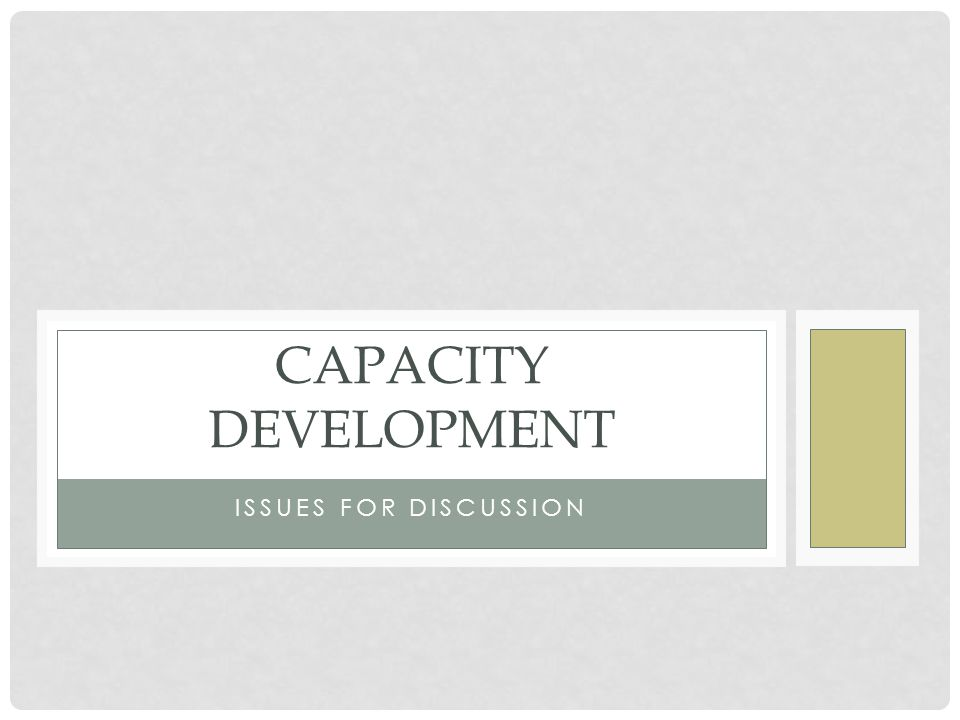 ISSUES FOR DISCUSSION CAPACITY DEVELOPMENT