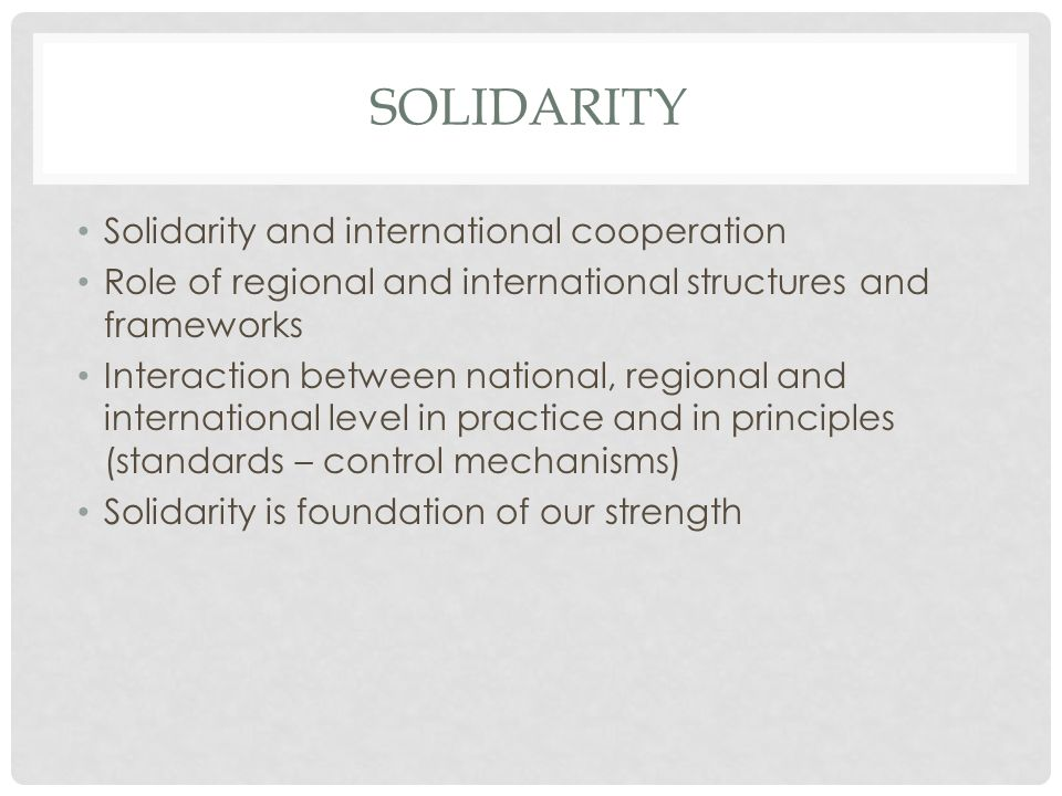 SOLIDARITY Solidarity and international cooperation Role of regional and international structures and frameworks Interaction between national, regional and international level in practice and in principles (standards – control mechanisms) Solidarity is foundation of our strength