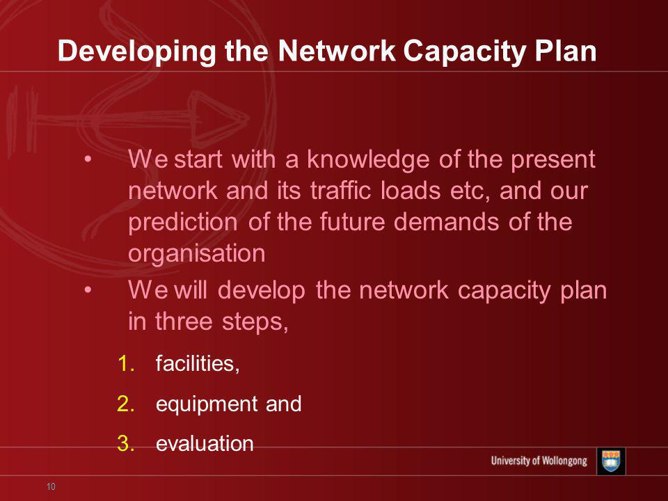 10 Developing the Network Capacity Plan We start with a knowledge of the present network and its traffic loads etc, and our prediction of the future demands of the organisation We will develop the network capacity plan in three steps, 1.facilities, 2.equipment and 3.evaluation