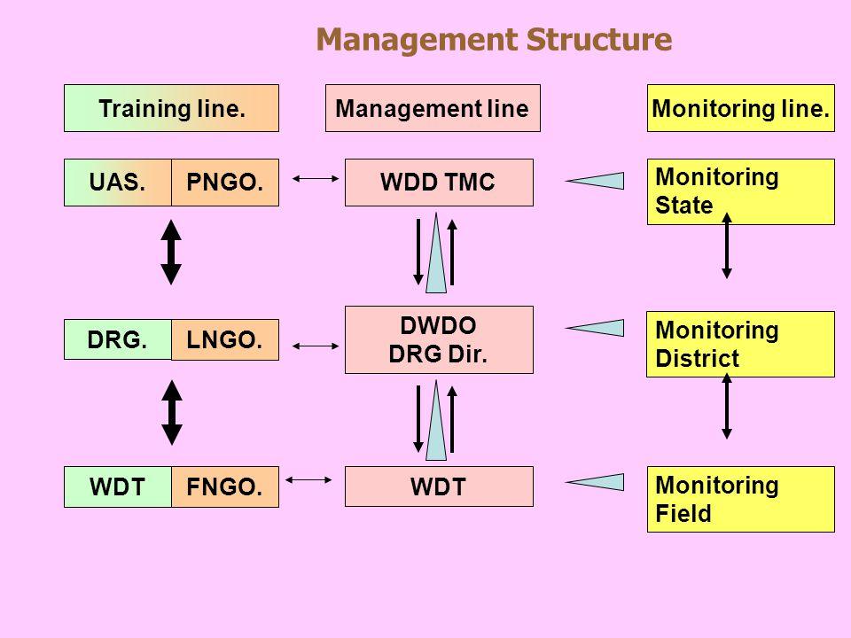 Management Structure WDD TMC DWDO DRG Dir. WDT FNGO. LNGO. PNGO. WDT DRG. UAS. Monitoring State Training line.Management lineMonitoring line. Monitori