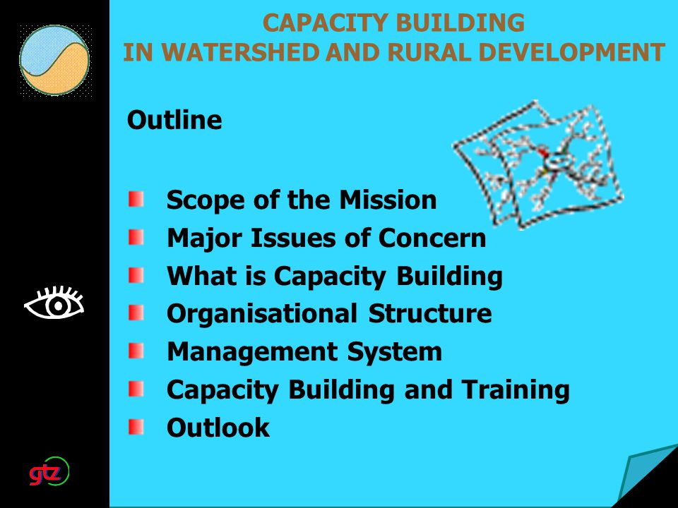 CAPACITY BUILDING IN WATERSHED AND RURAL DEVELOPMENT Scope of the Mission Major Issues of Concern What is Capacity Building Organisational Structure Management System Capacity Building and Training Outlook Outline