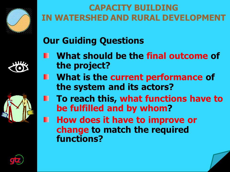 CAPACITY BUILDING IN WATERSHED AND RURAL DEVELOPMENT What should be the final outcome of the project? What is the current performance of the system an