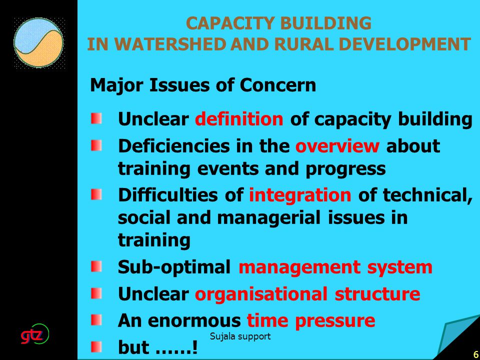Sujala support 6 CAPACITY BUILDING IN WATERSHED AND RURAL DEVELOPMENT Unclear definition of capacity building Deficiencies in the overview about training events and progress Difficulties of integration of technical, social and managerial issues in training Sub-optimal management system Unclear organisational structure An enormous time pressure but …….