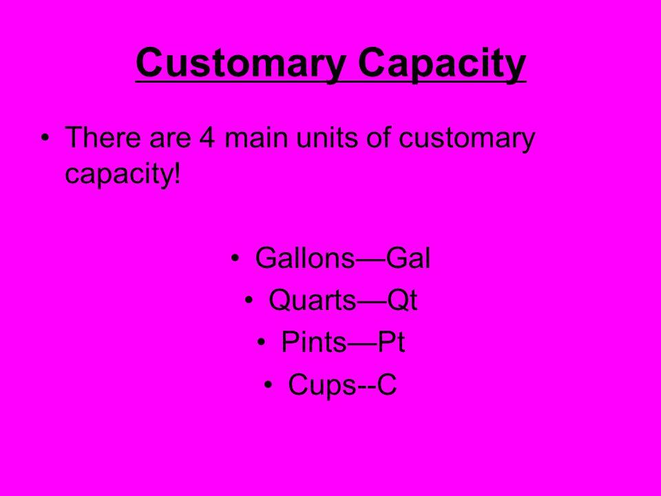 Customary Capacity There are 4 main units of customary capacity.