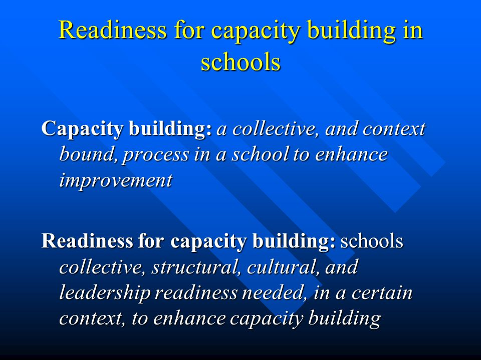 Readiness for capacity building in schools Capacity building: a collective, and context bound, process in a school to enhance improvement Readiness for capacity building: schools collective, structural, cultural, and leadership readiness needed, in a certain context, to enhance capacity building