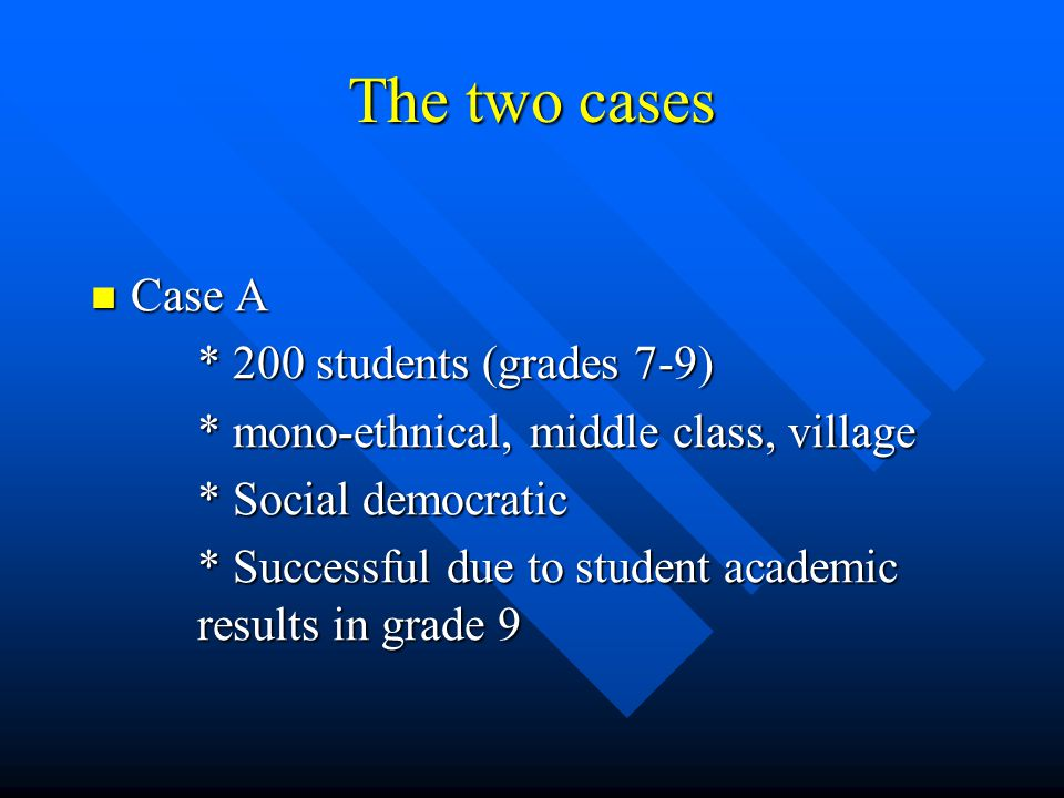 The two cases Case A Case A * 200 students (grades 7-9) * mono-ethnical, middle class, village * Social democratic * Successful due to student academic results in grade 9