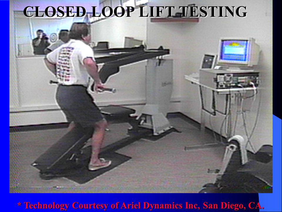 OPEN LOOP STRENGTH TESTING * Technology Courtesy of Ariel Dynamics Inc, San Diego, CA.