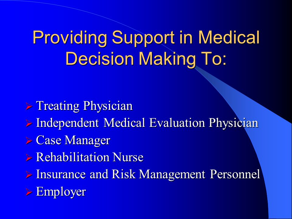 Medical and Workers Compensation Issues Considered Medical and Workers Compensation Issues Considered Safe Return to Work Safe Return to Work Altered
