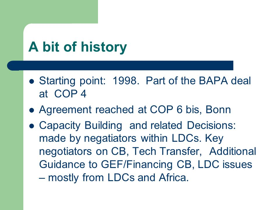 A bit of history Starting point: 1998.