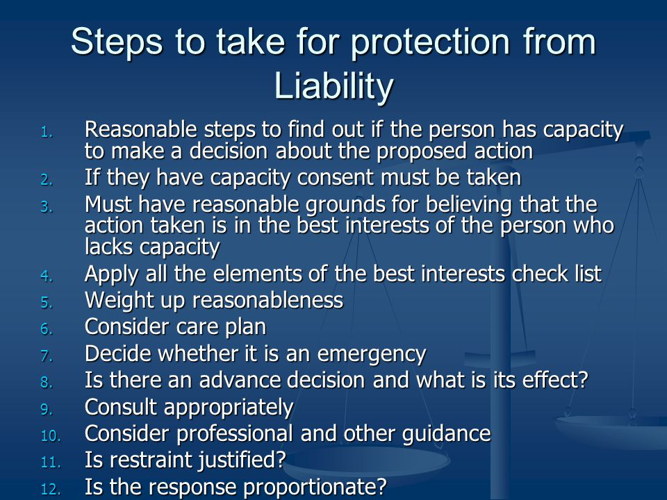 Steps to take for protection from Liability 1.