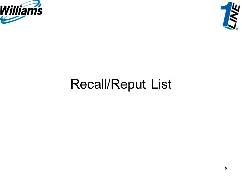 19 The View pages for Recall Details and Reput Details are identical to the create pages except that there are no editable fields.