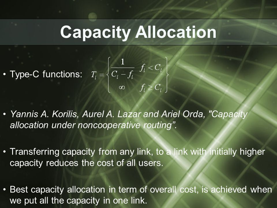 Capacity Allocation Type-C functions: Yannis A. Korilis, Aurel A.