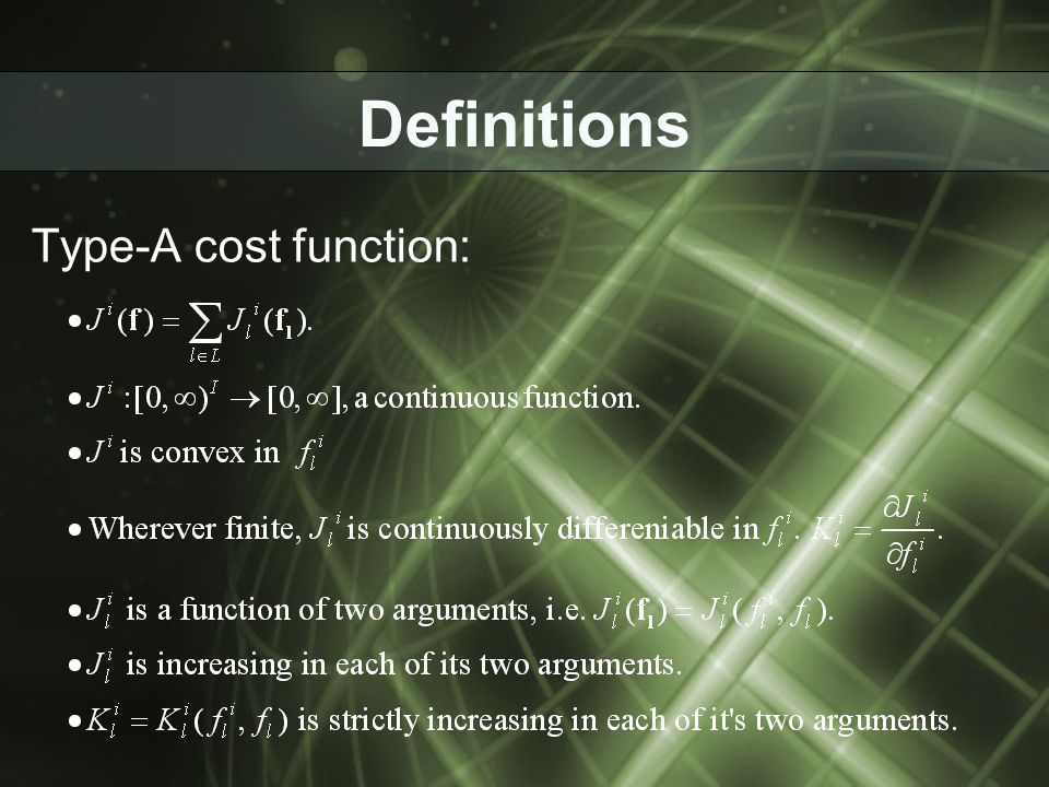 Definitions Type-A cost function: