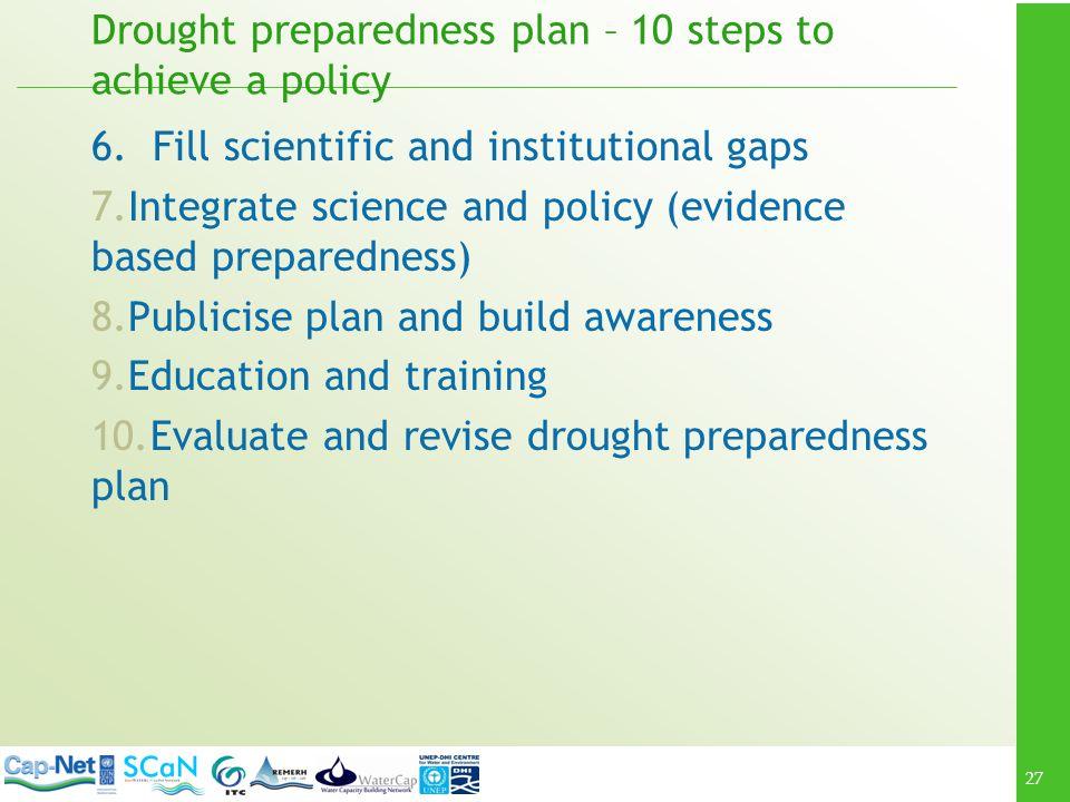 27 Drought preparedness plan – 10 steps to achieve a policy 6.