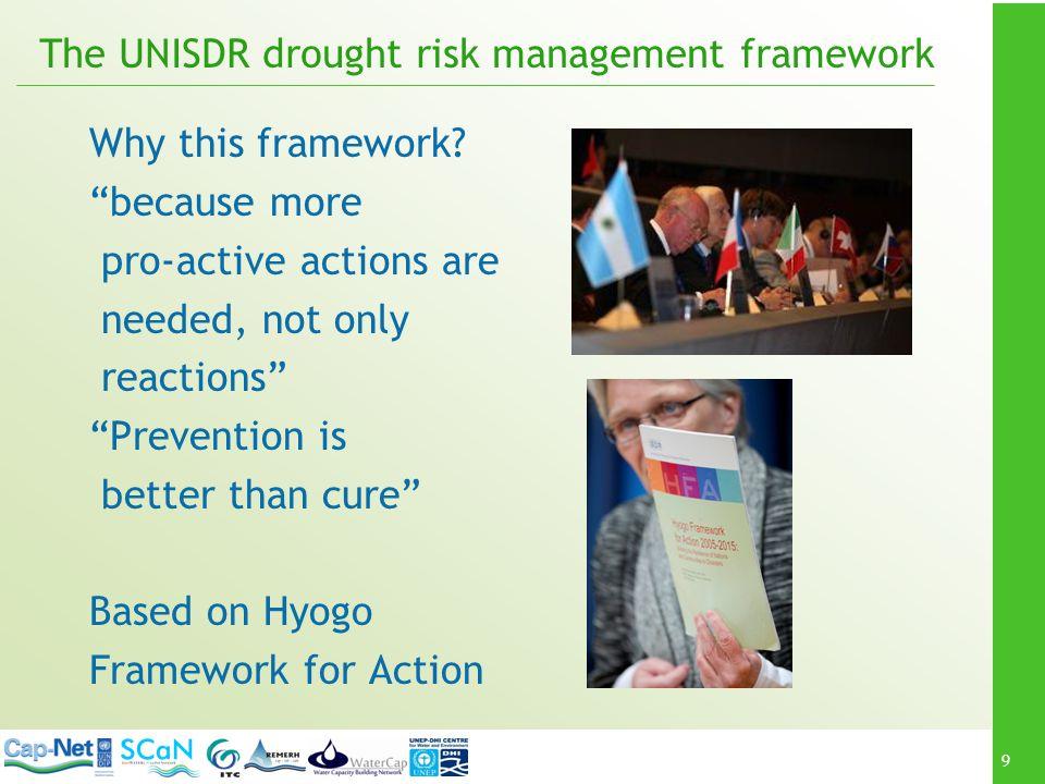 9 The UNISDR drought risk management framework Why this framework.