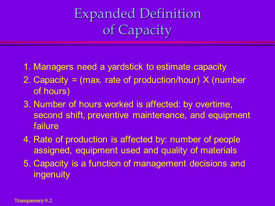 Estimating Capacity Factors that Affect Production Rate 1.