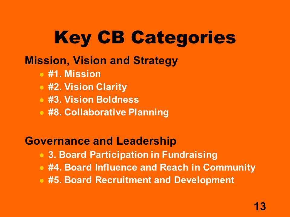 13 Key CB Categories Mission, Vision and Strategy #1.