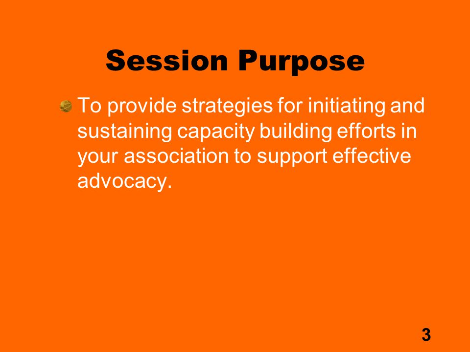 3 Session Purpose To provide strategies for initiating and sustaining capacity building efforts in your association to support effective advocacy.